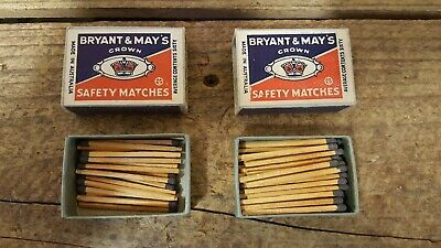 2x Vintage Black Bryant & May's Crown Safety Matches, Australia, Matchboxes