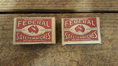 2x Vintage Federal Safety Matches, Australia, Plywood Matchboxes