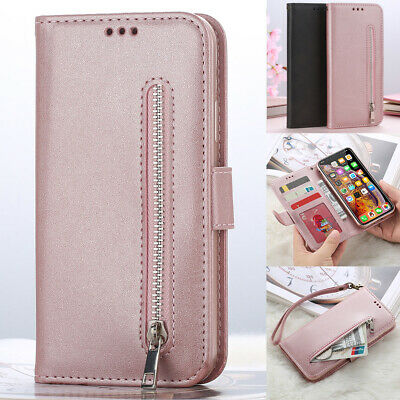 Samsung Galaxy Leather Zipper Purse Coin With Strap Wallet Card Clot Phone Case