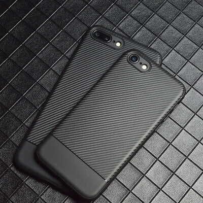 Simple Classic Carbon Fibre Case Cover for iphone XS Max X 8 Shockproof Silicone