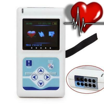 LCD Contec 12Channel CardioScape Holter Monitor ECG/EKG 14Hr Recording Tool