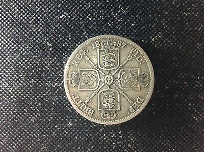 British Queen Victoria 1887 Florin Two Shilling 2/- Jubilee Head 925 Silver Coin