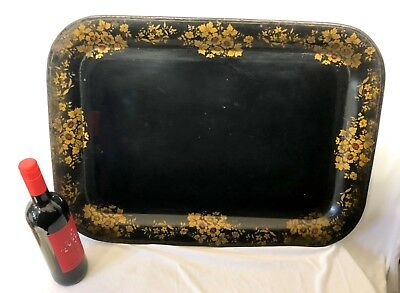LARGE Antique Tin Tole Toleware Tray with Painted and Gilded Flowers Folk Art