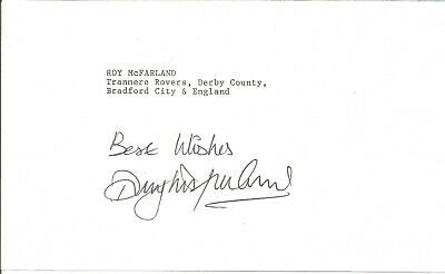 Football Autograph Roy McFarland Derby County Signed Paper Piece F1164
