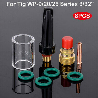 8 Pcs TIG Welding Gas Lens #10 Pyrex Cup Kit For Tig WP9 WP20 WP25 Torch 3/32""