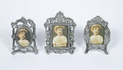 Set Of 3 Mini Photo Picture Frames Pewter Victorian Style Ornate Floral New