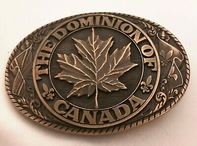 1970's Tony Lama 1st Edition State Seal Brass BELT BUCKLE ~ Dominion of CANADA
