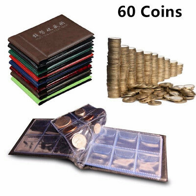 60 Openings Coins Album Holder Pocket Book Collecting Penny Storage Portable KW