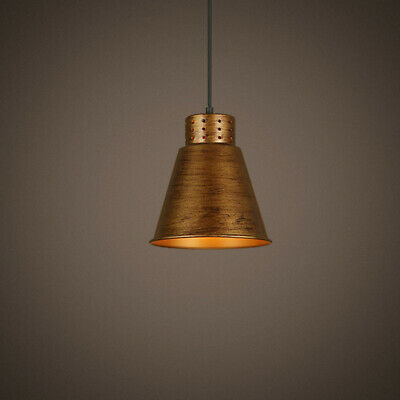Industrial Loft Kitchen Dining Single Pendant Light Lamp with Brass Metal Shade