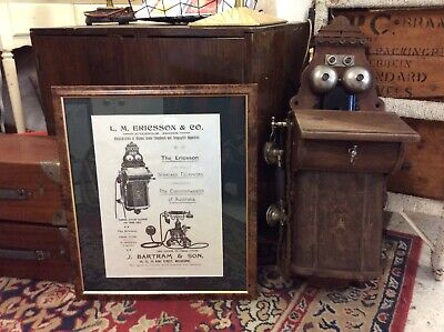 Stunning Antique Ericsson Wall Phone With Bonus Reproduction Framed Print