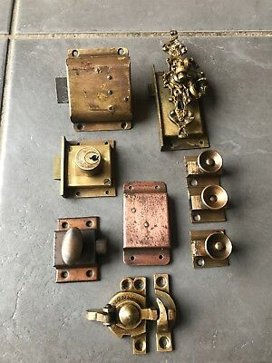 Job Lot Of Vintage Brass Cabinet Cupboard Locks Latches