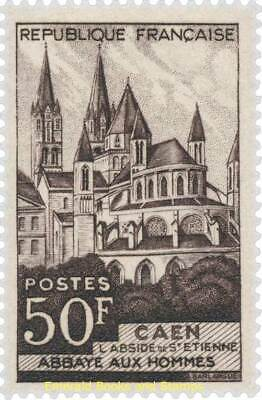 """EBS France 1951 Abbey """"Aux hommes"""" in Caen YT 917 MNH**"""