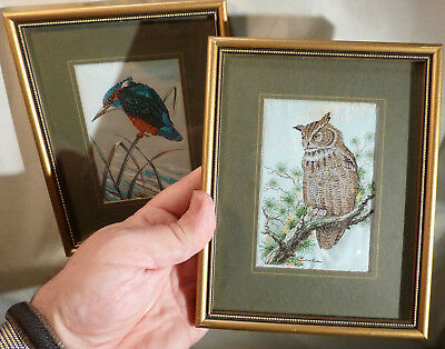 Vintage Cash's Framed Silk Pictures Birds x2 Great Horned Owl and Kingfisher