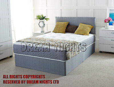 New 2ft6 3ft 4ft 4ft6 5ft 6ft Fabric Divan Bed With Memory Foam Spring Mattress