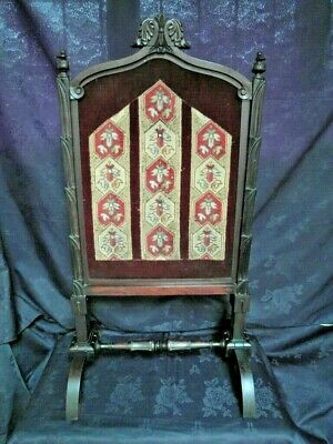 Large Victorian Mahogany Pull Up Fire Screen