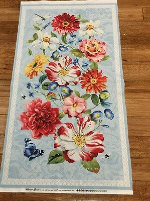 Rainbow Garden Floral w Butteffly & Dragonfly cotton Fabric Panel quilt / sew