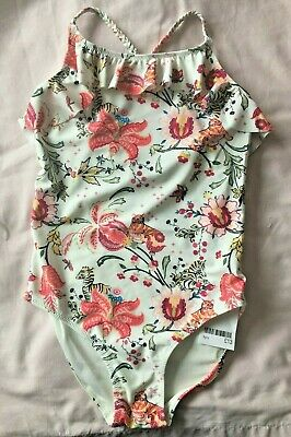Next Girls Age 7 9 11 & 12 White Bnwt Tropical Swimming Costume Rrp £13