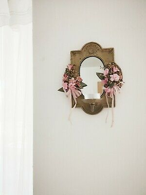 Vintage Brass Sconce Mirror Candle Holder Wall Shabby Chic Decor