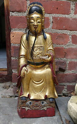 Antique Chinese Asian Qing Dynasty Wood Carved Temple Ancestor Figure Statue