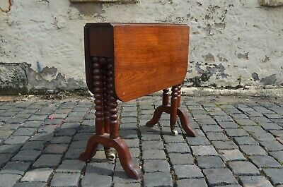 Victorian Mahogany Sutherland Table With Bobbin Turned Legs Stamped COLLINSON