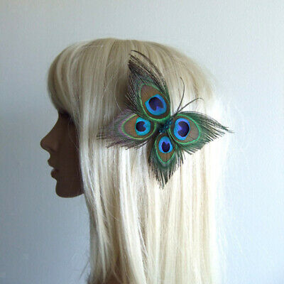 Butterfly Shape Peacock Feather Fascinator Hair Clip Wedding Bride Accessory