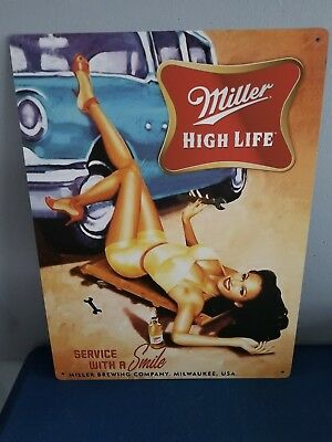 L@@K Miller High Life Beer Sexy Girl Working On Car Tin Sign Man Cave Game Room