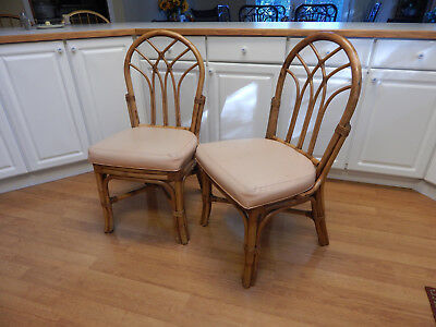 Vtg rattan chair mid century  leather tiki bent bamboo side dining accent set  2