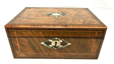 Antique Victorian Walnut & Mother of Pearl & Tunbridgeware Writing Box Slope