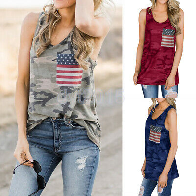 2b2f126d422f9a Women's Racer Back Camouflage Tank Tops 4th of July US Flag Print Tee Vest  Shirt