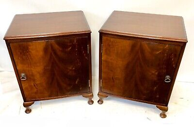 PAIR Antique Style Mahogany Bow Front Bedside Cabinets Night Stands Pot Cupboard