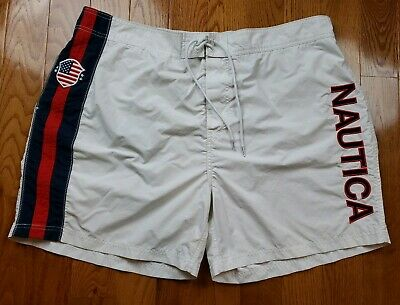 9dc72af11aade Vintage Nautica Shorts Swim Trunks Spellout White Red Blue USA Flag Men's  3XL