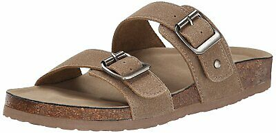 92dbe0d17 Madden Girl Womens Brando Open Toe Casual Slide Sandals, Taupe Fabric, Size  7.0