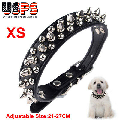 Adjustable Pet Dog Cat PU Leather Spiked Studded Neck Strap Puppy Buckle Collar
