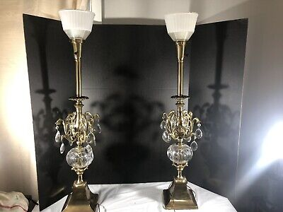 Pair of Stunning Vintage MCM Crystal Hollywood Regency Torchiere Table Lamps.