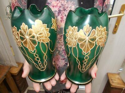 Nice Pair Art Nouveau Green Moser Glass Vases Gilt Flower Pinched Tops Bohemian