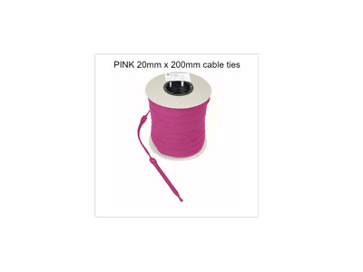 VELCRO CABLE TIES  RE-USABLE ONE WRAP 20mm x 200mm PINK (CABLE  MANAGEMENT )