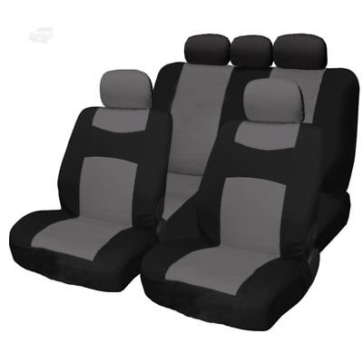 For Jeep New Grey and Black 9PC Flat Cloth Front Rear Car Truck Seat Covers