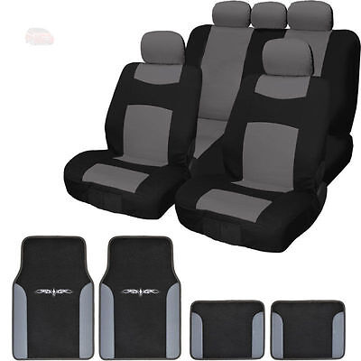 New Black Grey 13PC Flat Cloth Car Truck Seat Covers With Mats Set for Kia