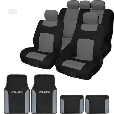 For Chevrolet New Black Grey 13PC Flat Cloth Car Truck Seat Covers With Mats Set