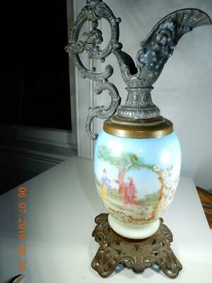 Antique French Paris Porcelain and Bronze Ewer 14 inch high