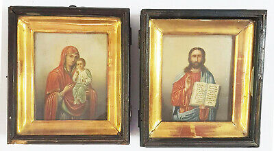 Antique 19thC Russian Icon Weddings Pair Smolensk Mother of God and Jesus Christ