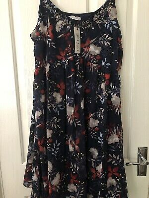 BNWT M/&S CLASSIC FLORAL  PINK MIX WITH COTTON SUMMER CRUISE LINED DRESS SIZE 16