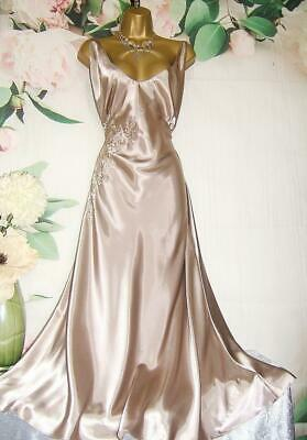 VTG M&S Glossy Gold Satin Nightdress Ultra Femme Slip Nightie Negligee TALL 22