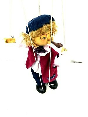 Antique Vintage Marionette Puppet with Pipe & Glasses Wood Carved Blue Hat - EUC