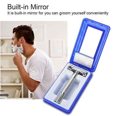 Manual Mens Double Edge Shaving Safety Razor with Blades Zinc Alloy with Case