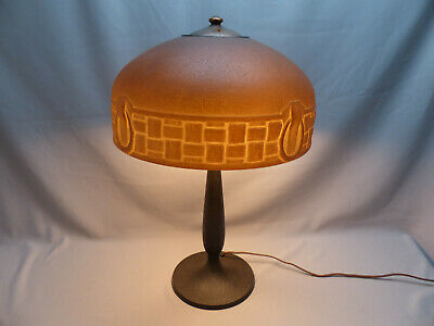 Scarce Signed Handel Arts & Crafts Brown Molded Mosserine Shade Table Lamp Nice!