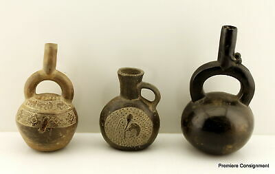 Lot of three Pre-Columbian Pottery Vessels or Vases from Peru Chancy Culture