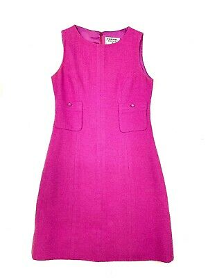 Authentic CHANEL Vintage One Piece Dress COCO mark Buttons Purple #F38 Rank AB