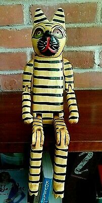 "14"" Americana Rustic Primitive? Folk Art Hand Carved Wooden Jointed Striped Cat"