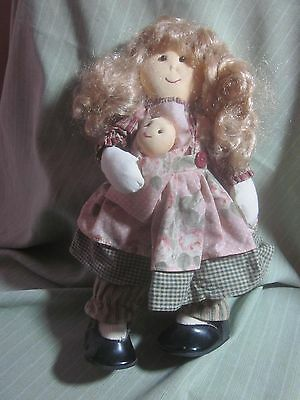 Doll Soft Sculpture Curly Blond Hair Mismatched Outfit Baby Twin Patent Shoes 12